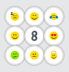 Flat icon expression set of asleep joy smile and vector