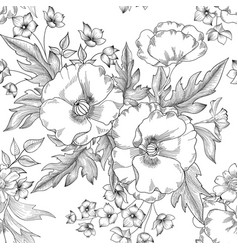 floral seamless pattern summer flower bouquet vector image vector image