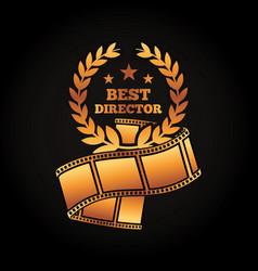 Gold award best director laurel strip film movie vector