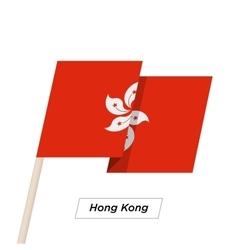 Hong Kong Ribbon Waving Flag Isolated on White vector image
