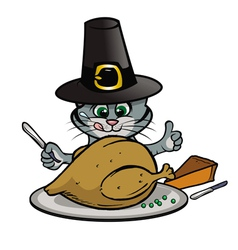 kitty thanksgiving vector image vector image