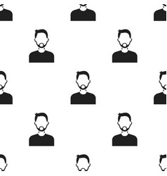 man with beard icon black single avatarpeaople vector image