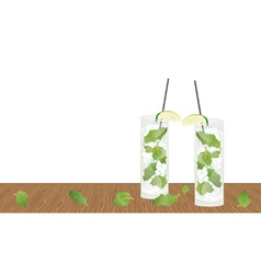 Mojito drink cocktail on the table vector