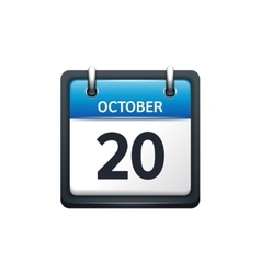 October 20 Calendar icon flat vector image vector image