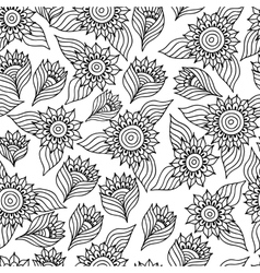 Page of coloring book with sunflowers vector image vector image