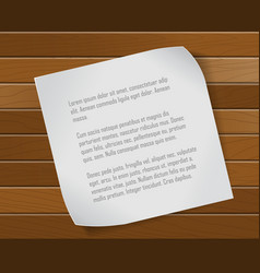 Paper sheet over wooden background vector image vector image