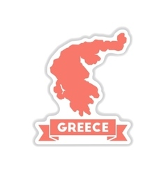 Paper sticker on white background greece map vector