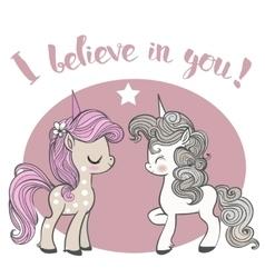 Pink and blue cartoon unicorns vector