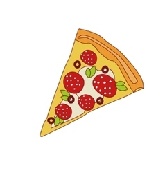 Pizza Slice With Pepperoni vector image