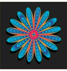 Rainbow flower on black background vector