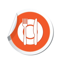 restaurant icon orange sticker vector image vector image