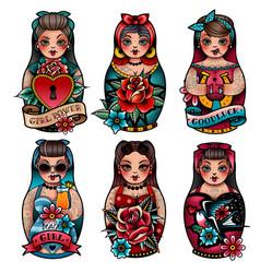 russian dolls set vector image