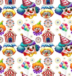 Seamless background with clowns and circus vector image