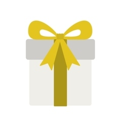 Silhouette gift box with yellow ribbon vector