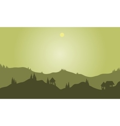Silhouette of hills with green background vector