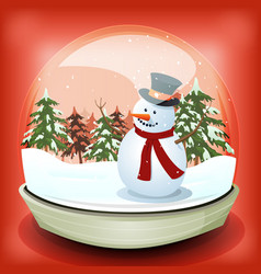 snowman in winter snowball vector image