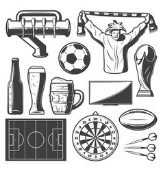vintage sport bar elements collection vector image vector image