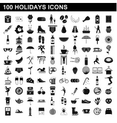 100 holidays icons set simple style vector image