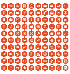 100 telephone icons hexagon orange vector