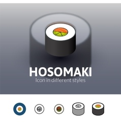 Hosomaki icon in different style vector