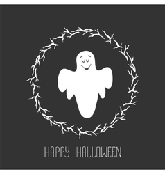 Funny ghost flying in the night sky halloween vector