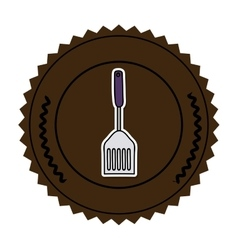 color round frame with frying spatula vector image