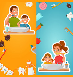 Family hygiene of teeth vertical banners vector