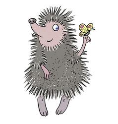 Cartoon image of cute hedgehog vector