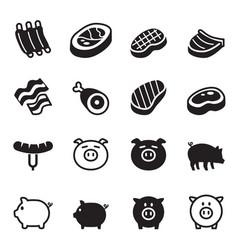 Pig pork icons set vector