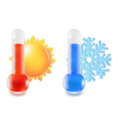 Thermometer hot and cold temperature vector