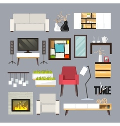 Living room furniture set vector