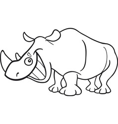 Cartoon illustration of funny rhinoceros for color vector