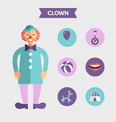 Flat design of clown with icon set infographic vector