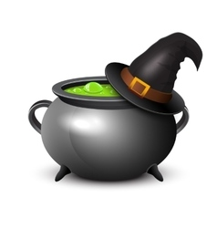 Witch hat pot of boiling potion on white vector