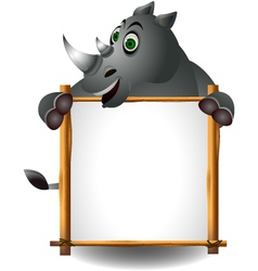 Funny rhino cartoon with blank sign vector