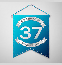 blue pennant with inscription thirty seven years vector image