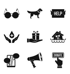 Charitable foundation icons set simple style vector