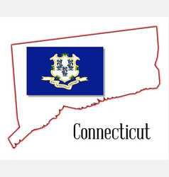 connecticut state map and seal vector image vector image