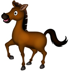 cute brown horse cartoon vector image vector image