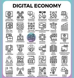 Digital economy concept icons vector