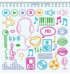 doodle music signs vector image vector image