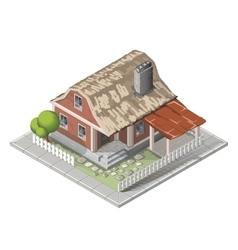 Farm isometric building farmhouse vector image