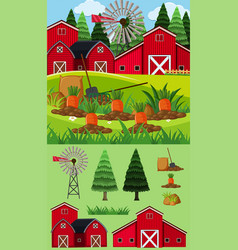 Farm scene with red barn and carrot garden vector