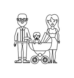 figure happy couple with their baby icon vector image vector image
