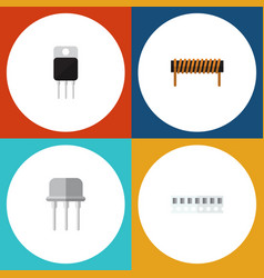 Flat icon electronics set of receiver memory vector