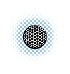 Golf ball icon comics style vector