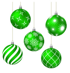 green christmas balls with different patterns vector image