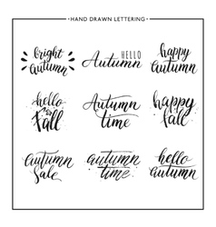 Hand painted text - happy autumn hello fall vector