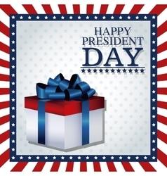 Happy president day gift box ribbon frame flag vector