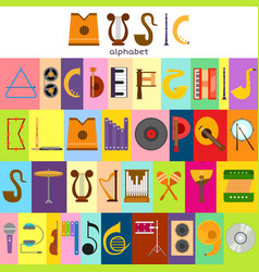music alphabet font text symbols musical vector image vector image